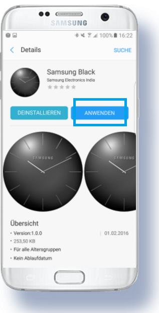 weitere Apps für Samsung Gear S3 herunterladen, Ziffernblatt anwenden