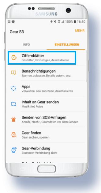 weitere Apps für Samsung Gear S3 herunterladen, Einstellungen der Ziffernblätter