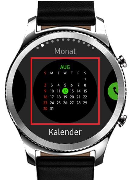 Widget bei Samsung Gea S3 hinzufügen, Beispiel von einem Kalender-Widget