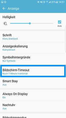Samsung Smartphone, Hintrgrundbeleuchtung einstellen, Schritt 3 Bildschirm-Timeout einstellen