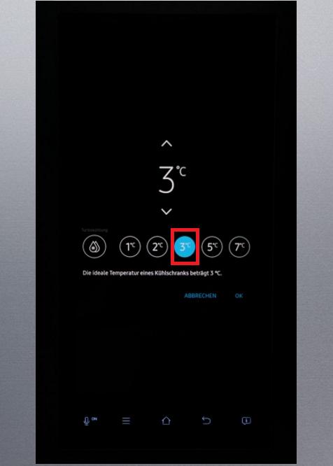 Temperatur von Samsung Kühlschrank Family Hub einstellen, Temperatur des Kühlbereichs