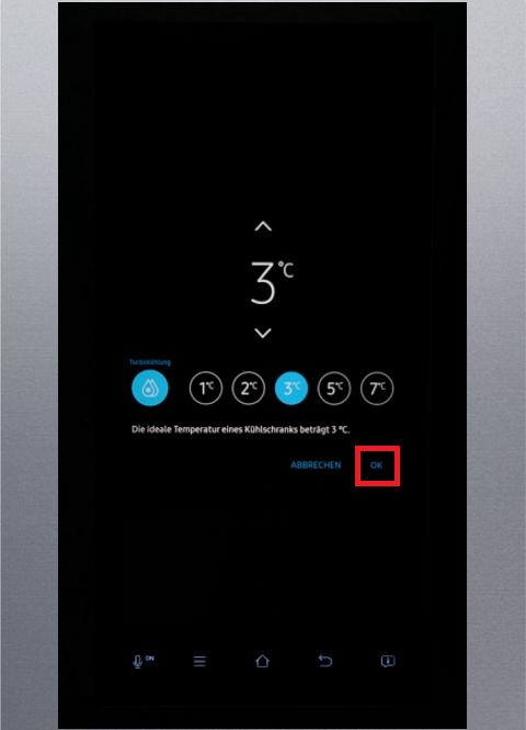 Temperatur von Samsung Kühlschrank Family Hub einstellen, Tropfen-Symbol