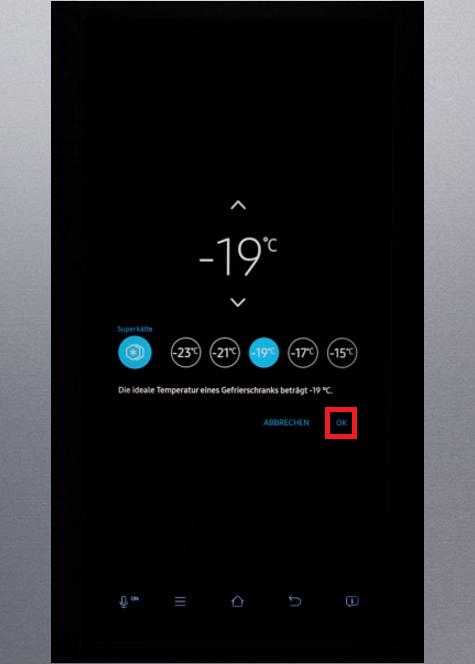 Temperatur von Samsung Kühlschrank Family Hub einstellen, Superkälte