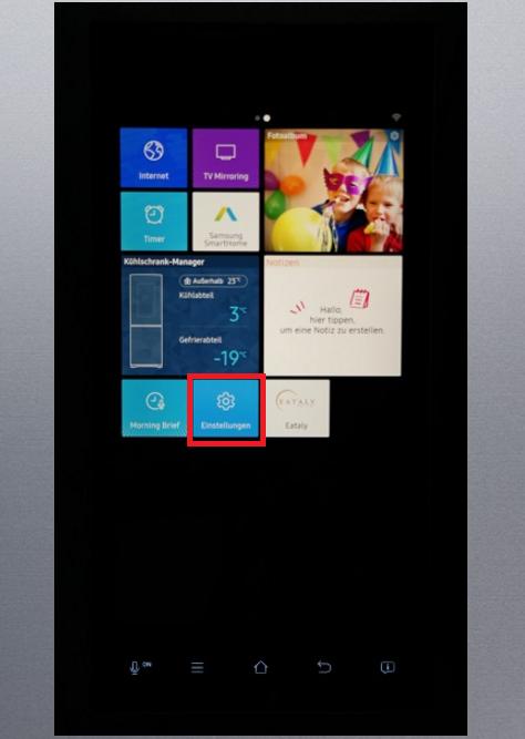 Uhrzeit und Datum von Samsung Kühlschrank Family Hub einstellen, Kühlschrank-Manager