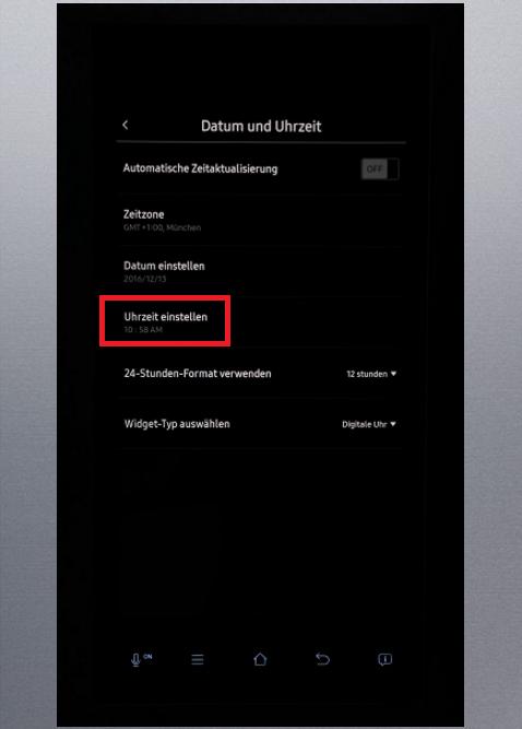 Uhrzeit und Datum von Samsung Kühlschrank Family Hub einstellen, Uhrzeit einstellen