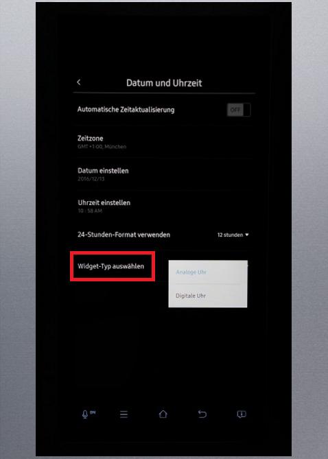 Uhrzeit und Datum von Samsung Kühlschrank Family Hub einstellen, Widget-Typ auswählen
