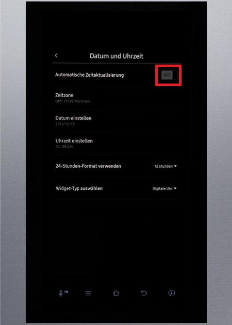 Uhrzeit und Datum von Samsung Kühlschrank Family Hub einstellen, automatische Zeitaktualisierung