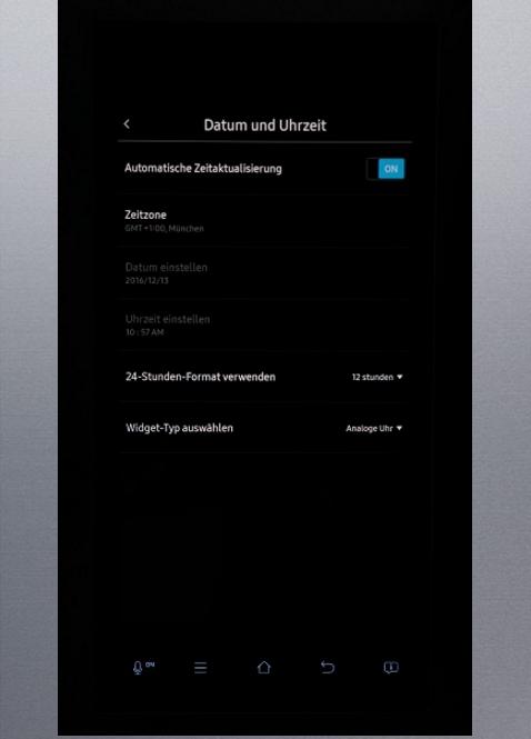 Uhrzeit und Datum von Samsung Kühlschrank Family Hub einstellen, automatische Zeitaktualisierung eingeschaltet