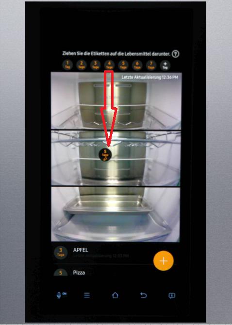 Food Reminder-Funktion von einem Samsung Kühlschrank Family Hub, Ettiketten