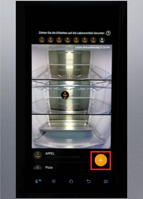 Food Reminder-Funktion von einem Samsung Kühlschrank Family Hub, Etiketten abspeichern