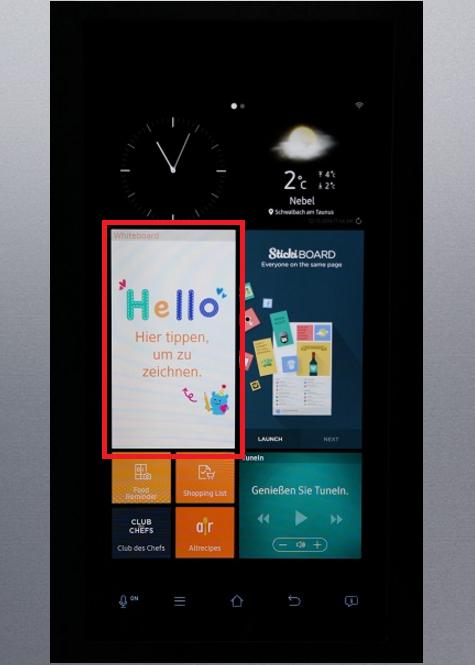 Whiteboard-Funktion von einem Samsung Kühlschrank Family Hub, Whiteboard-Widget