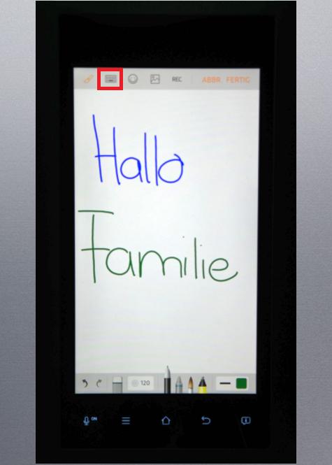Whiteboard-Funktion von einem Samsung Kühlschrank Family Hub, mit den Fingern malen oder schreiben