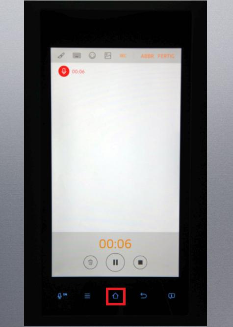 Whiteboard-Funktion von einem Samsung Kühlschrank Family Hub, Aufnahme beenden