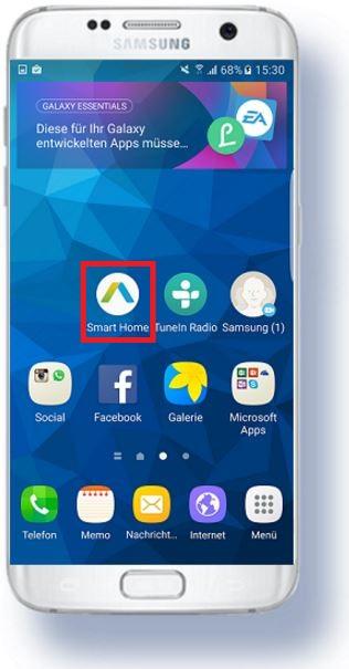 Samsung Family Hub Kühlschrank, Einrichtung Smart Home App