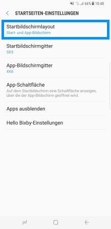 Samsung Galaxy S8/S8+, Änderungen des Start- und App-Bildschirm (Menü), Startseiten-Einstellungen, Startbildschirmlayout