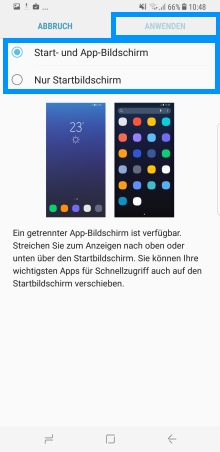 Samsung Galaxy S8/S8+, Änderungen des Start- und App-Bildschirm (Menü), Start- und App-Bildschirm auswählen