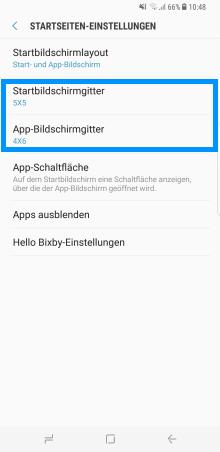 Samsung Galaxy S8/S8+, Änderungen des Start- und App-Bildschirm (Menü), Startseiten-Einstellungen,  Einstellungspunkt Startbildschirmgitter und App-Bildschirmgitter