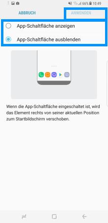 Samsung Galaxy S8/S8+, Änderungen des Start- und App-Bildschirm (Menü), Startseiten-Einstellungen,  App-Schaltfläche ausblenden
