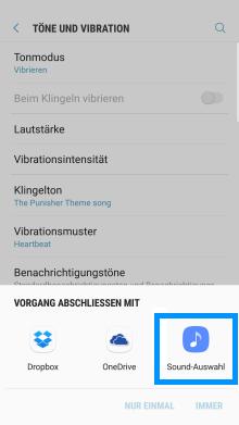 Samsung Galaxy Smartphone, Klingelton anpassen, Schritt 4, Abfrage mit welcher Anwendung Klingelton auszuwählen, Option Sound-Auswahl