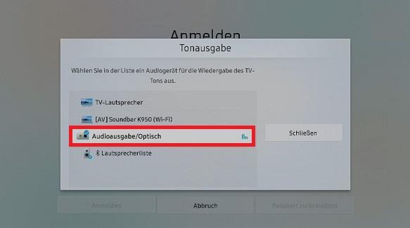 Samsung Soundbar über den optischen Ausgang an QLED Smart TV anpassen