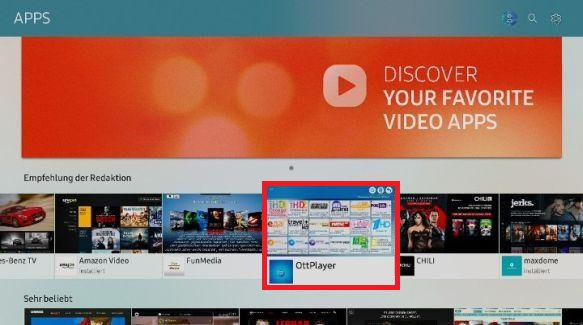 Apps auf Samsung QLED TV installieren, App auswählen