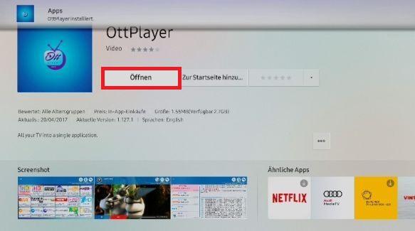 Apps auf Samsung QLED TV installieren, App öffnen