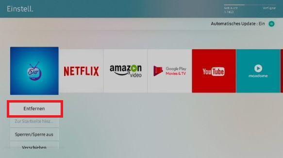 Apps von Samsung QLED TV entfernen