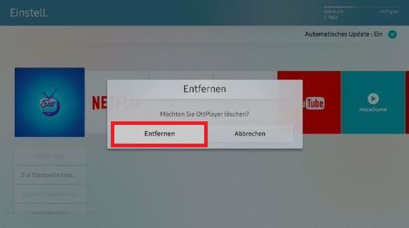 Apps von Samsung QLED TV entfernen, Bestätigung