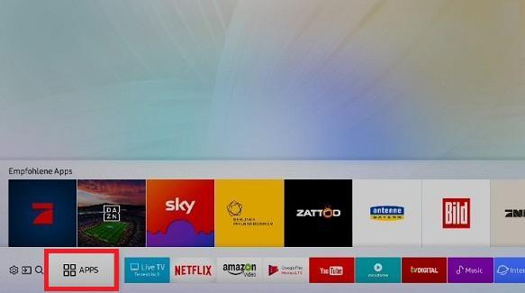 Apps zum Startbildschirm eines Samsung QLED TV hinzufügen, Apps öffnen