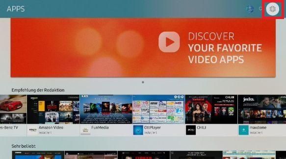 Apps zum Startbildschirm eines Samsung QLED TV hinzufügen, App auswählen