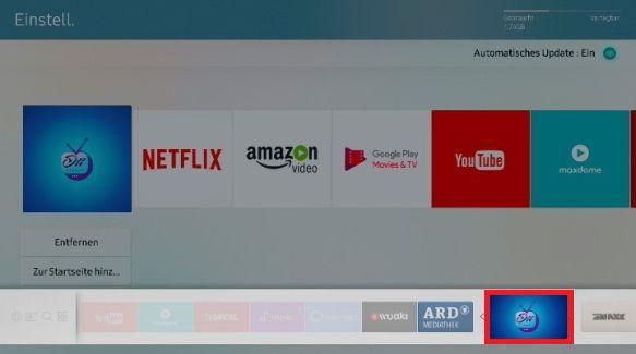 Apps zum Startbildschirm eines Samsung QLED TV hinzufügen, App antippen