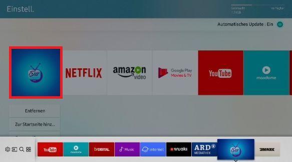 Apps zum Startbildschirm eines Samsung QLED TV hinzufügen, App verschieben