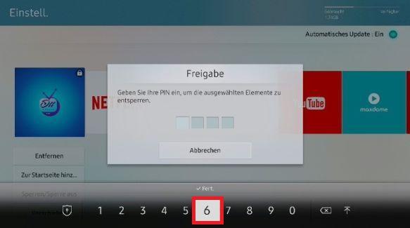 Apps auf Samsung QLED TV sperren und freigeben, PIN eingeben
