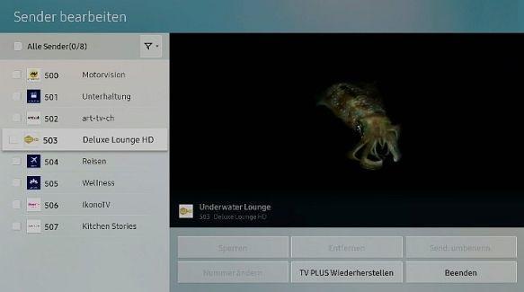 Samsung QLED Smart TV, Sender sortieren und entfernen