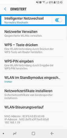 Samsung Smartphone Android 5.x und höher, intelligenten Netzwechsel aktivieren/deaktivieren