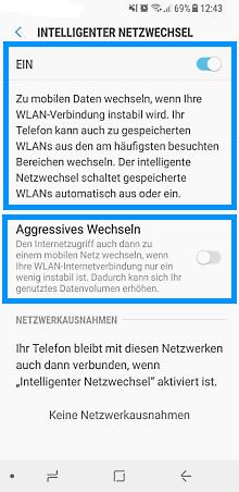Samsung Smartphone Android 5.x und höher, intelligenten Netzwechsel aktivieren/deaktivieren, aggressives Wechseln Option