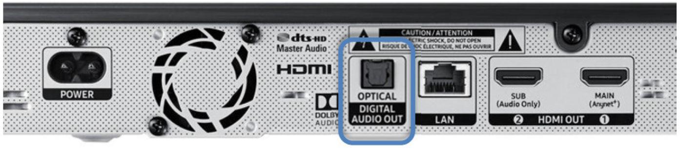 Man sieht den Optical Digital Audio Anschluss