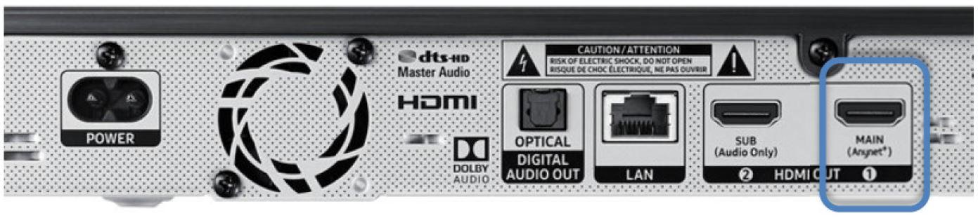 Man sieht den HDMI MAIN Anschluss des Players