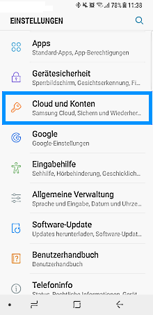 Samsung Galaxy S8/S8 +, neues/vorhandenes Samsung Konto einrichten