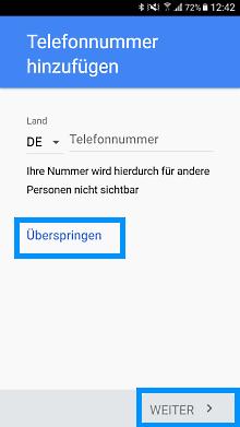 Google Account auf Samsung Galaxy A3 2017 einrichten, Telefonnummer hinzufügen