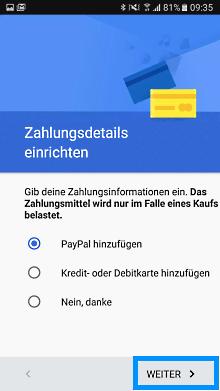 Google Account auf Samsung Galaxy A3 2017 einrichten, Zahlungsart