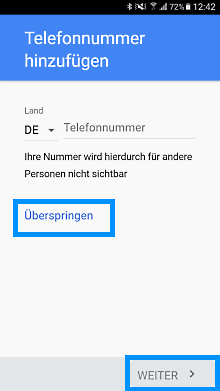 Google Konto auf Samsung Galaxy S7 anlegen, Wiederherstellungsoptionen