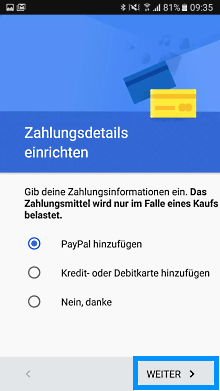 Google Konto auf Samsung Galaxy S7 anlegen, Zahlungsoptionen