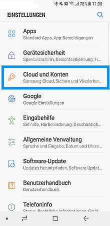 Samsung Galaxy S8/S8+, neues/vorhandenes Google Konto einrichten