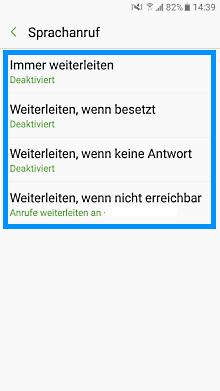 Samsung Galaxy S7 (Edge), Rufumleitung einstellen oder deaktivieren