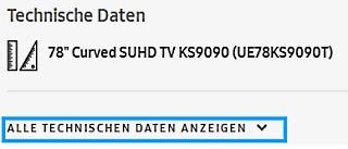 Samsung Smart TV, Aufnahmefunktion (PVR-Funktion), Alle technischen Daten anzeigen