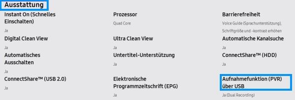 Samsung Smart TV, Aufnahmefunktion (PVR-Funktion), Ausstattung und Aufnahmefunktion (PVR) unter technische Daten
