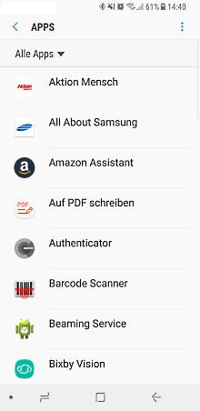 Samsung Galaxy Smartphone, Vorinstallierte Apps aktivieren/deaktivieren, Schritt 2, Apps anzeigen
