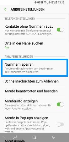 Samsung Smartphone 7.x Nougat, Anrufblockierung, Schritt 4, Nummern sperren auswählen