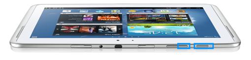 Screenshoterstellung Samsung Tablet, Ein-/Aus und Lautstärke verringern Taste drücken